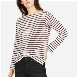 Everlane striped heavyweight boatneck top, size XS